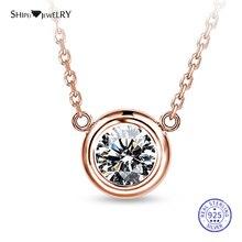 цена Shipei 100% 925 Sterling Silver Fine Jewelry Rose Gold White Gold White Sapphire Round Pendant Necklace for Women Birthday Gift онлайн в 2017 году
