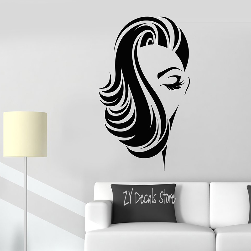 US $8.0 14% OFF|Barber Shop Vinyl Wall Decal Girl Face Lady Beauty Hair  Salon Hairstyle Sticker Removable Art Mural For Bedroom Living Room L676-in  ...