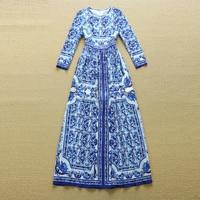 HIGH QUALITY Designer Long Dress Women S Long Sleeve Blue Floral Printed Retro Runway Dress