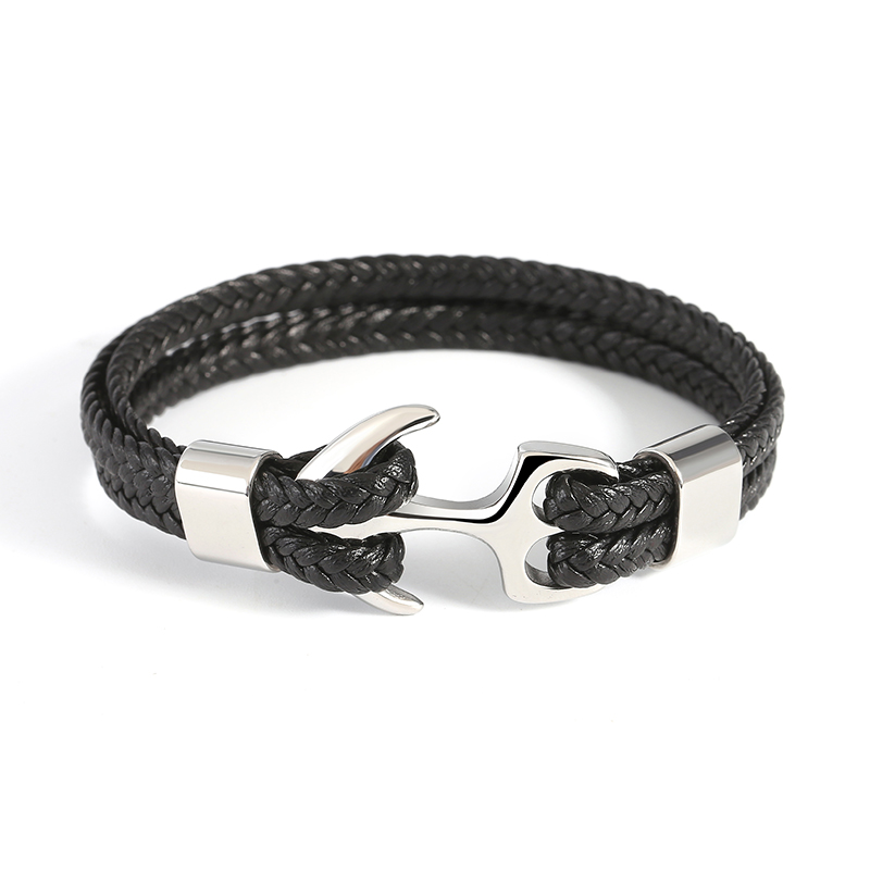 Genuine Leather Anchor Stainless Steel Bracelets & Bangles Male Jewelry 215m Length Men Bracelet Gift For Dad