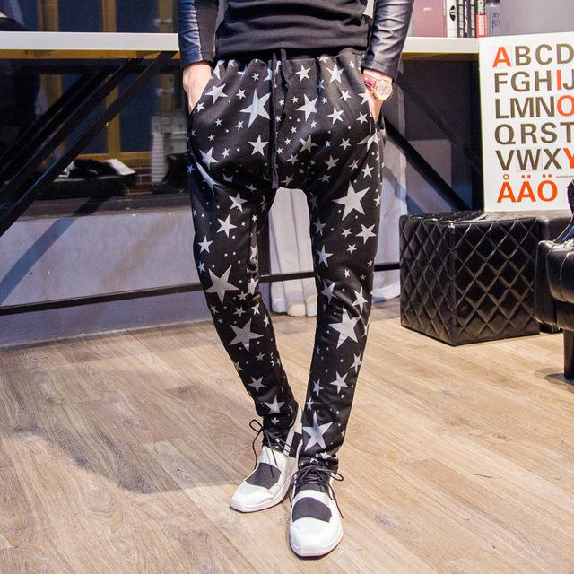 2017 calças dos homens casuais slim fit hip hop legal lápis impressão estrela calças sweatpants militares do exército calças dos homens corredores