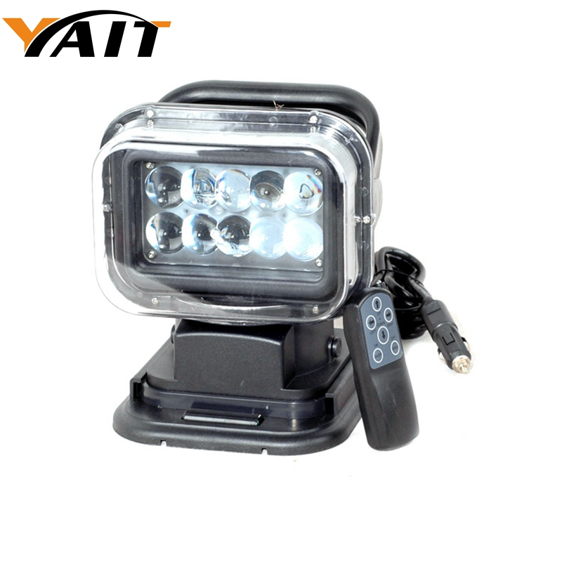 Yait 7inch remote control 360 degree searchlight 12V spotlight 50w led search light for boat marine