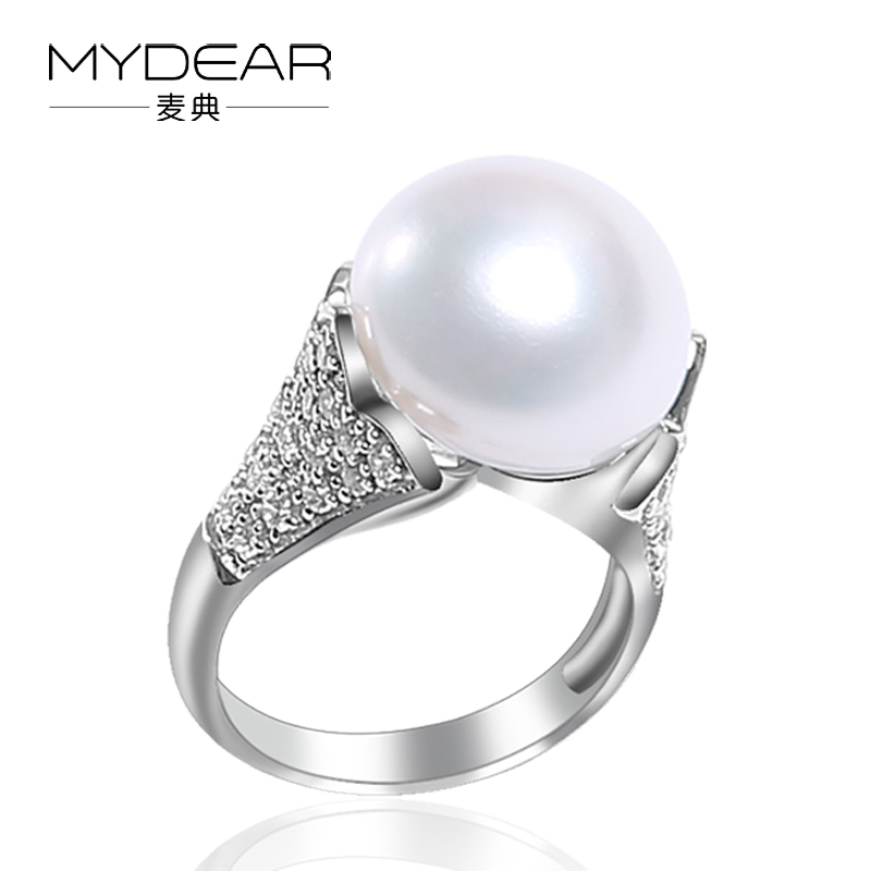 MYDEAR Fine Pearl Jewelry The Newest 925 Silver Pearl Rings 13-14mm White Big Cultivation Freshwater Pearl Rings For Women the pearl