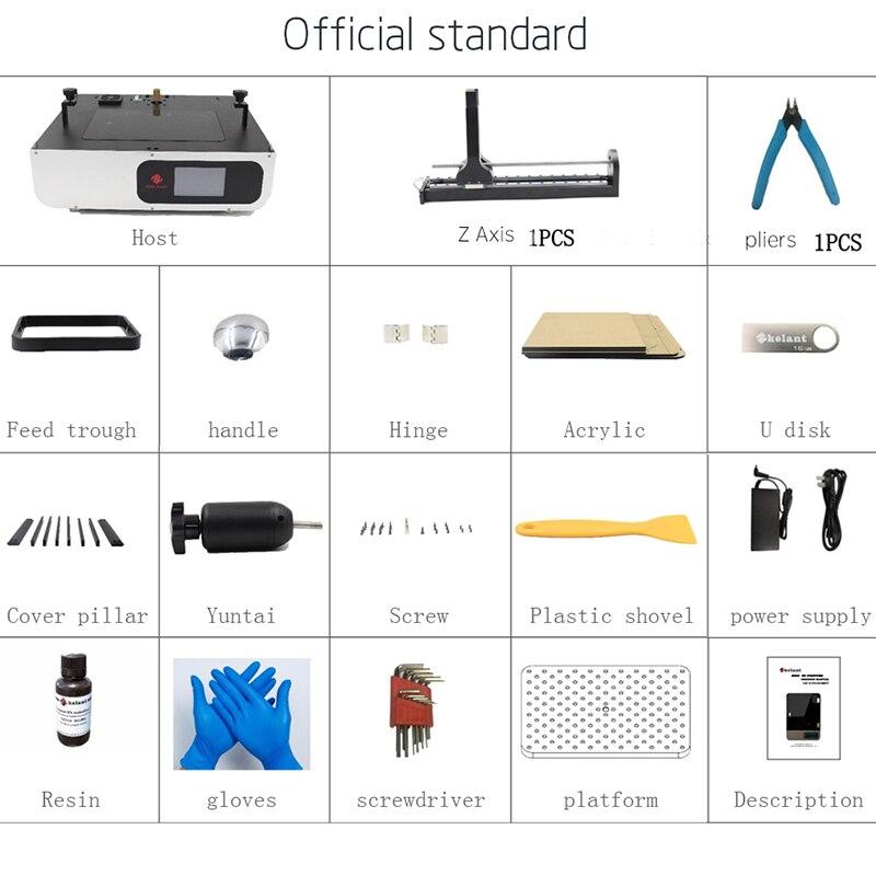 Kelant плюс ЖК дисплей DLP 3D принтеры s 8,9 дюймов 2 K лазерной 3D принтеры большой Фотон УФ смолы SLA Light вылечить 192*120*200 мм impresora diy kit - 6