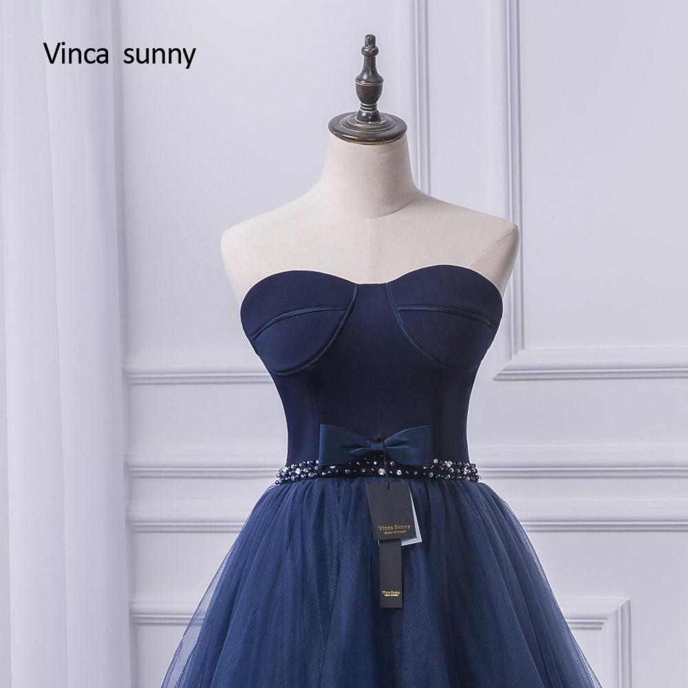 37eeb2a90 Vinca soleado 2018 2018 vestidos de baile trasero largo delantero corto  vestido de noche azul marino tulle moda fiesta formal para graduación en  Vestidos de ...