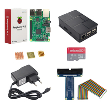 Best price Raspberry Pi 3 Model B + 2.5 A Power Adapter+ 16 GB SD Card + ABS Case + 40 pin GPIO Cable Adapter + Copper Heat Sink for RPI 3
