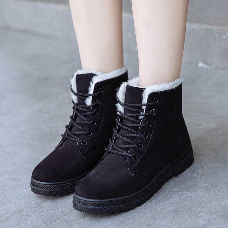 Mingpinstyle Winter Women Boots Snow Boots Keep Warm Rubber Sole Non-slip Waterproof Cross-tied Cotton Shoes 2018 Women Shoes