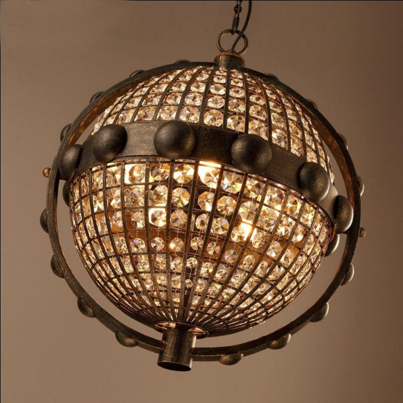 Lamps Lamp Globe Pendant Light Chandelier Loft Lights Vintage Edison Retro Globe K9 Crystal Iron Metal Bar Lighting Droplight loft retro globe k9 crystal wrought iron edison pendant lights lamp vintage metal bar pendant lighting droplight