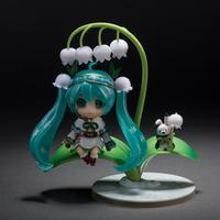 12cm VOCALOID Nendoroid 493# Hatsune Snow Miku Anime Action Figure Lotus Leaf Snow Bell Ver Model Collectible Kawaii Toys Doll