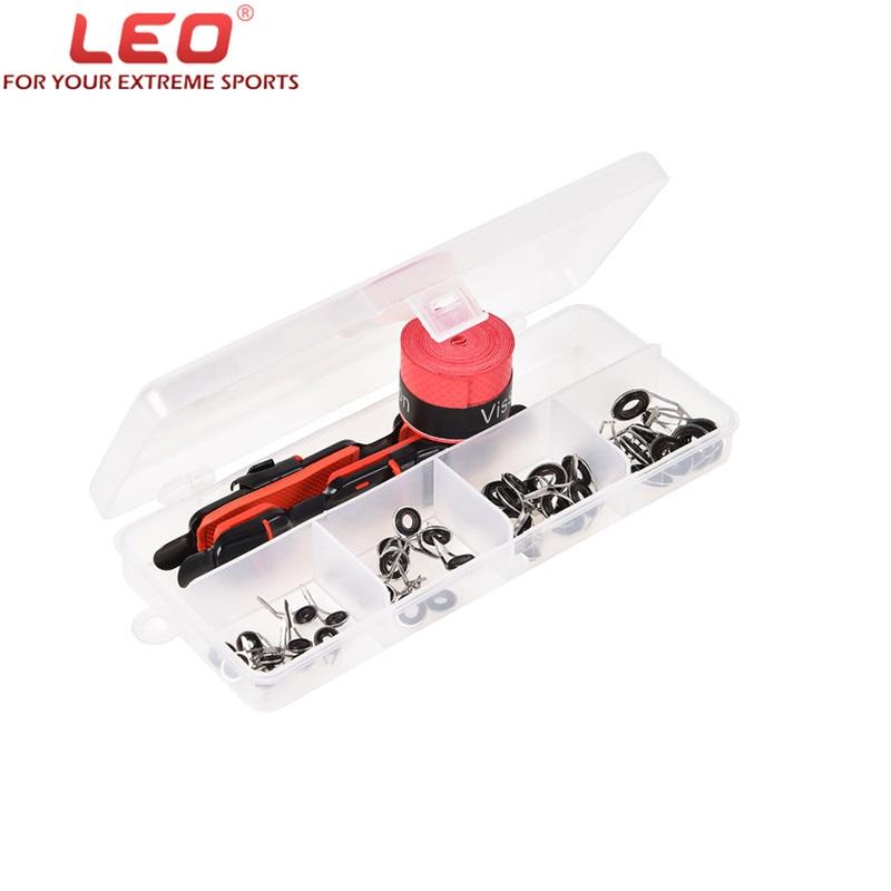 LEO Fishing Rod Accessories Kit Adjustable Reel Deck Seat+Fishing Rod Tip+Sweatband In Box Guide Rings Non-slip Fishing Rod Grip