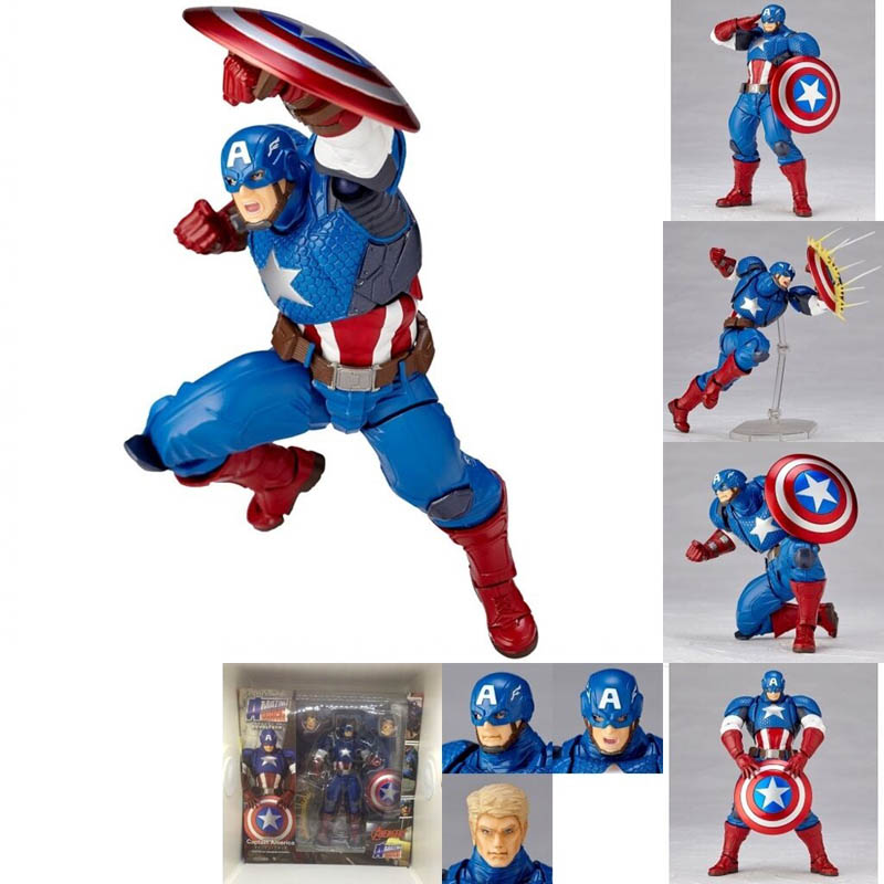 Revoltech Series NO.007 Captain America PVC Action Figure Toy Doll Christmas Gift for Kids 17cm