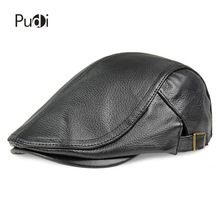 Pudi HL182 primavera hombres sombreros de béisbol de cuero real moda nuevo  estilo de cuero suave cinturón boina gorras camionero. 21d75bc33c6