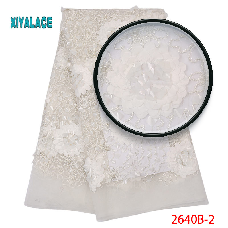 2019 New Style French Net Lace Fabric 3D Flower African Tulle Mesh Lace Fabric High Quality Lace Nigerian Lace Fabric YA2640B-2