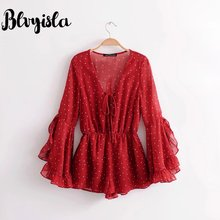 27146c93dd1b Blvyisla Deep V Ruffled Bohemian Playsuit Women Wear Summer Jumpsuit Red  Dot Overalls Chiffon Bodysuit Lolita