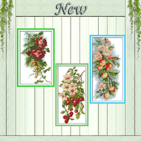 Flowers Apples Cherry Fruit Grapes Rose Painting Counted Print On Canvas DMC 11CT14CT Cross Stitch Kits
