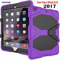 Amor Heavy Duty case For Apple New iPad 9.7 2017 A1822 Tablet case GLF Soft Silicone +PC Back Cover Kickstand Case