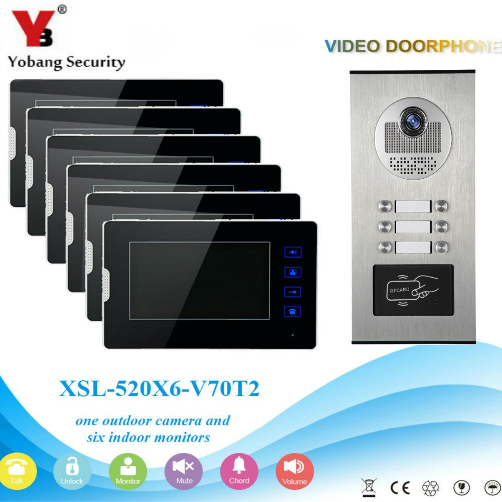 YobangSecurity Video Intercom 7Inch Video Door Phone Home Doorbell Intercom System RFID Access Door Camera For 6 Unit Apartment