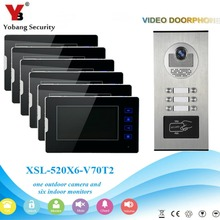 YobangSecurity Video Intercom 7″Inch Video Door Phone Home Doorbell Intercom System RFID Access Door Camera For 6 Unit Apartment