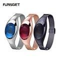 Funsget lujo bluetooth smart watch presión arterial heart rate monitor podómetro pulsera para ios android regalo para mujeres niñas