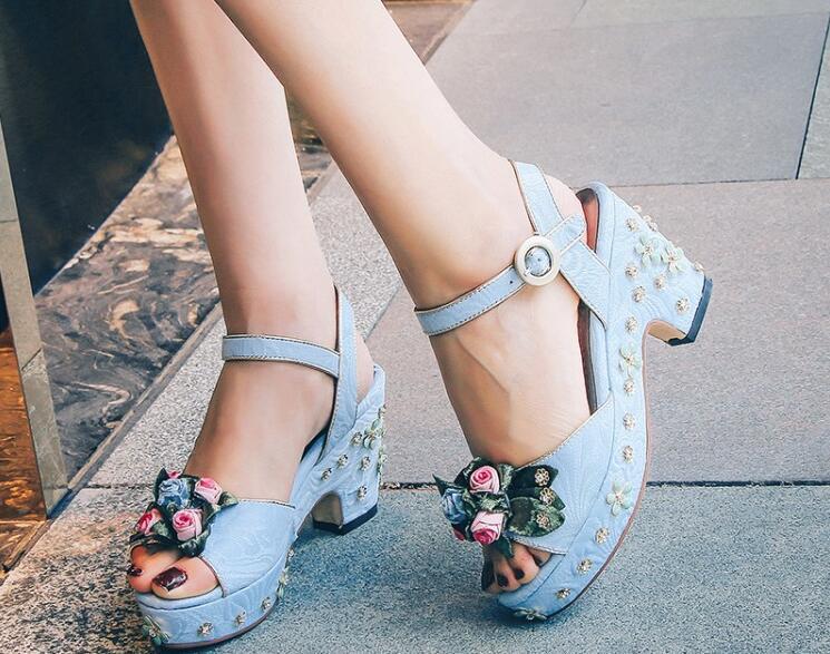 Zapatos Cristal Plataforma Flor Tobillo Azul Fiesta De Moda Picture 7gyvYbIf6