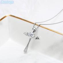 Jinwateryu 925 пробы Серебряный кулон с крыльями ангела для женщин и девочек