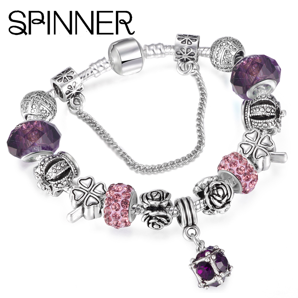SPINNER European Style Vintage Silver plated Crystal Charm Bracelet For Women fit Original DIY Brand Bracelet Jewelry Gift