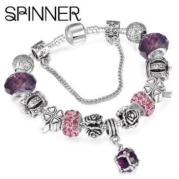 SPINNER European Style Vintage Silver plated Crystal Charm Bracelet Women fit Original DIY Pandora Bracelet Jewelry Gift пандора браслет с шармами
