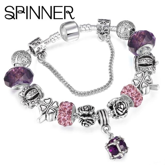 SPINNER European Style Vintage Silver plated Crystal Charm Bracelet Women fit Original DIY Pandora Bracelet Jewelry Gift