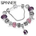 SPINNER European Style Vintage Silver plated Crystal Charm Bracelet For Women fit Original DIY Pandora Bracelet Jewelry Gift