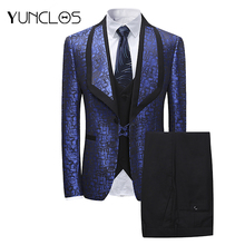 YUNCLOS 2019 Newest Wedding Party Suits Mens Slim Fit Fashion 3 Pieces Prom with Pant For Men