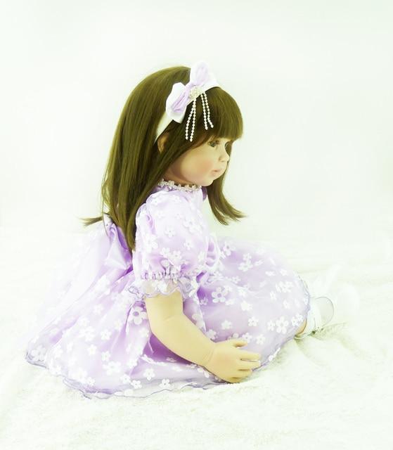 60cm Silicone Vinyl Reborn Baby Doll toy brown eyes sleeping girl doll handmade lifelike fashionable baby