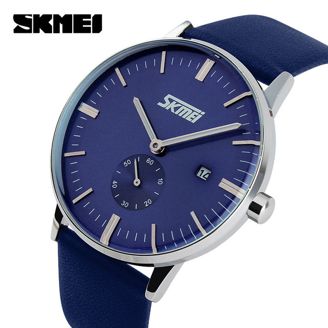 2015 mens watches waterproof blue skmei high quality product genuine leather wristwatches christmas gift for young