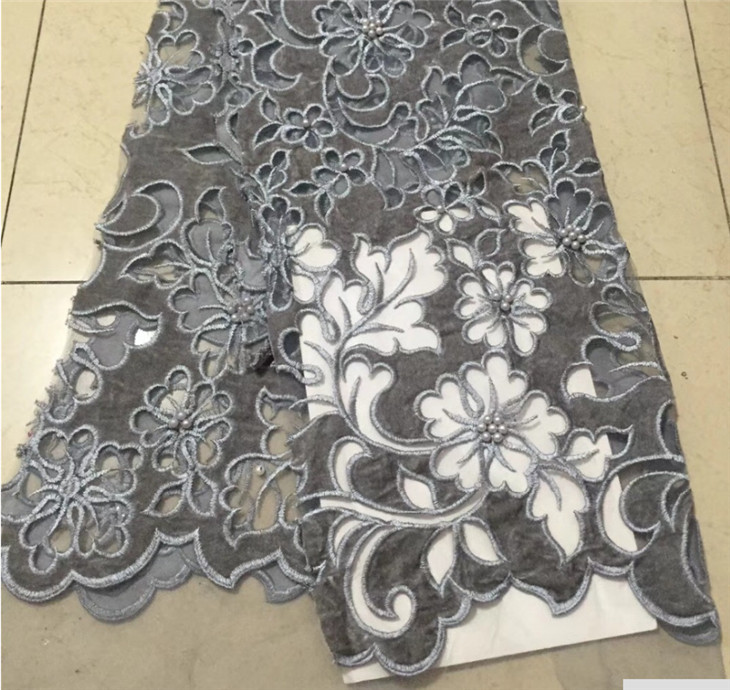 Gray Nigerian French Lace Fabrics 2018 African Beaded velvet Tulle Lace Fabric High Quality African Lace Wedding Fabric For DresGray Nigerian French Lace Fabrics 2018 African Beaded velvet Tulle Lace Fabric High Quality African Lace Wedding Fabric For Dres