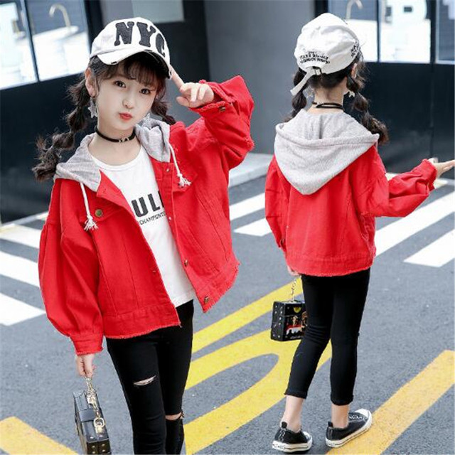 JMFFY Girl Jacket Autumn Fashion Brand 2018 Kids Outerwear Coats Clothes Children Hooded Buttons Toddler Girls Jackets Clothing