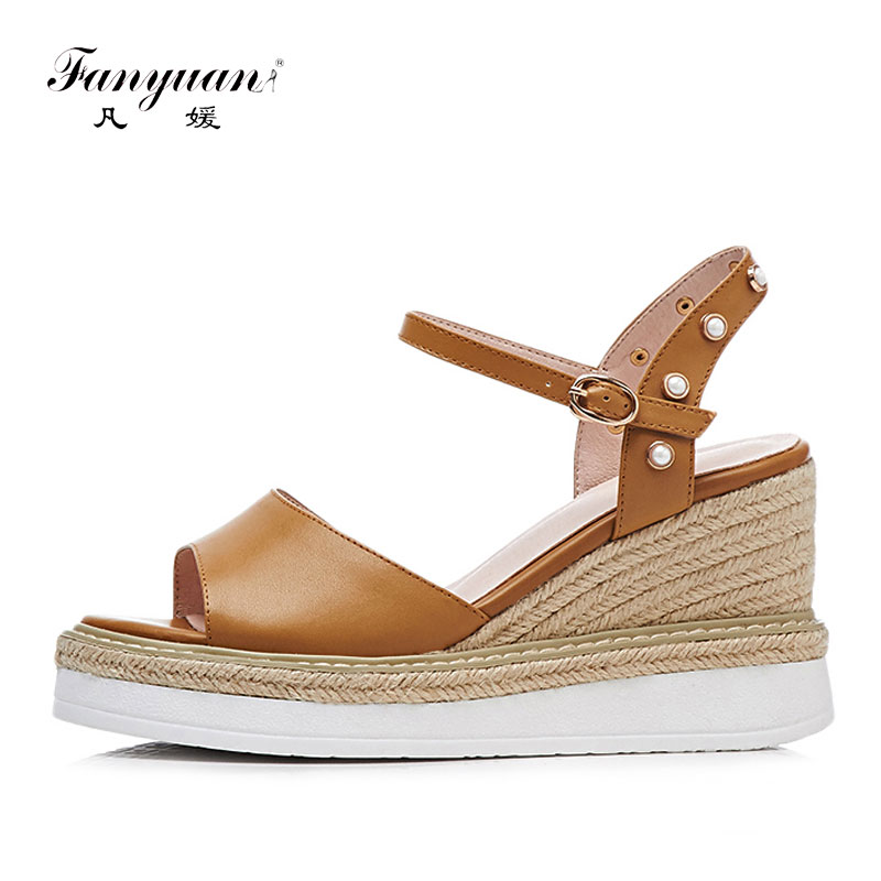 Fanyuan Handmade Leather Wedge Sandals Summer High Heel Platform Shoes Women Casual Straw Pearl Shoes Woman Sandals Open Toe vankaring summer women sandals fashion wedge platform women sandals open toe woman shoes strange style heel wedges casual shoes