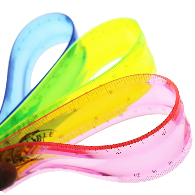 Soft Ruler Multicolour Student Flexible Ruler Tape Measure 15cm 20cm 30cm(6\8\12inch) Straight Ruler Office School Supplies(China)