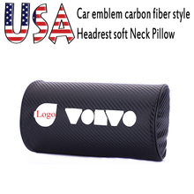 Embroidery USA car emblem Carbon fiber style headrest soft Neck Pillow black Automotive interior accessories