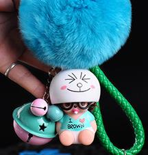 Cartoon rabbit bunny smile face Bell Decoration i love cony Monchichi KIKI fur pompom Keychain keyring Women Bag Jewelry pendant
