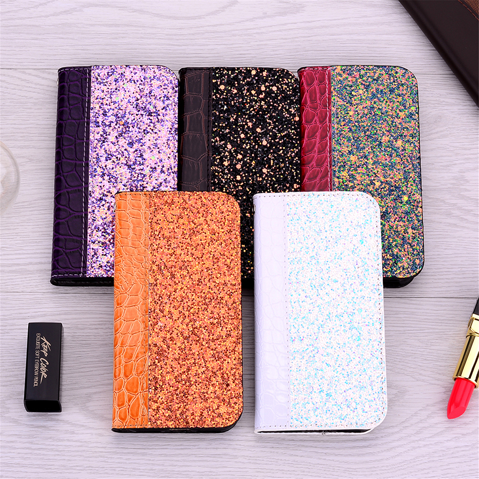 Crocodile Pattern Wallet Glitter Phone <font><b>Case</b></font> For <font><b>Huawei</b></font> Mate 20 X (5G) Y6 Prime <font><b>2018</b></font> Y7 Pro Y9 Prime 2019 Back Cover <font><b>P</b></font> <font><b>Smart</b></font> Z image