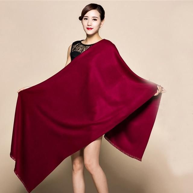 """20 צבעי סוכריות מותג חדש בורגונדי האופנה נשים קשמיר Pashimina עבה רך צעיף לעטוף צעיפים חם 200x60 ס""""מ 1211"""
