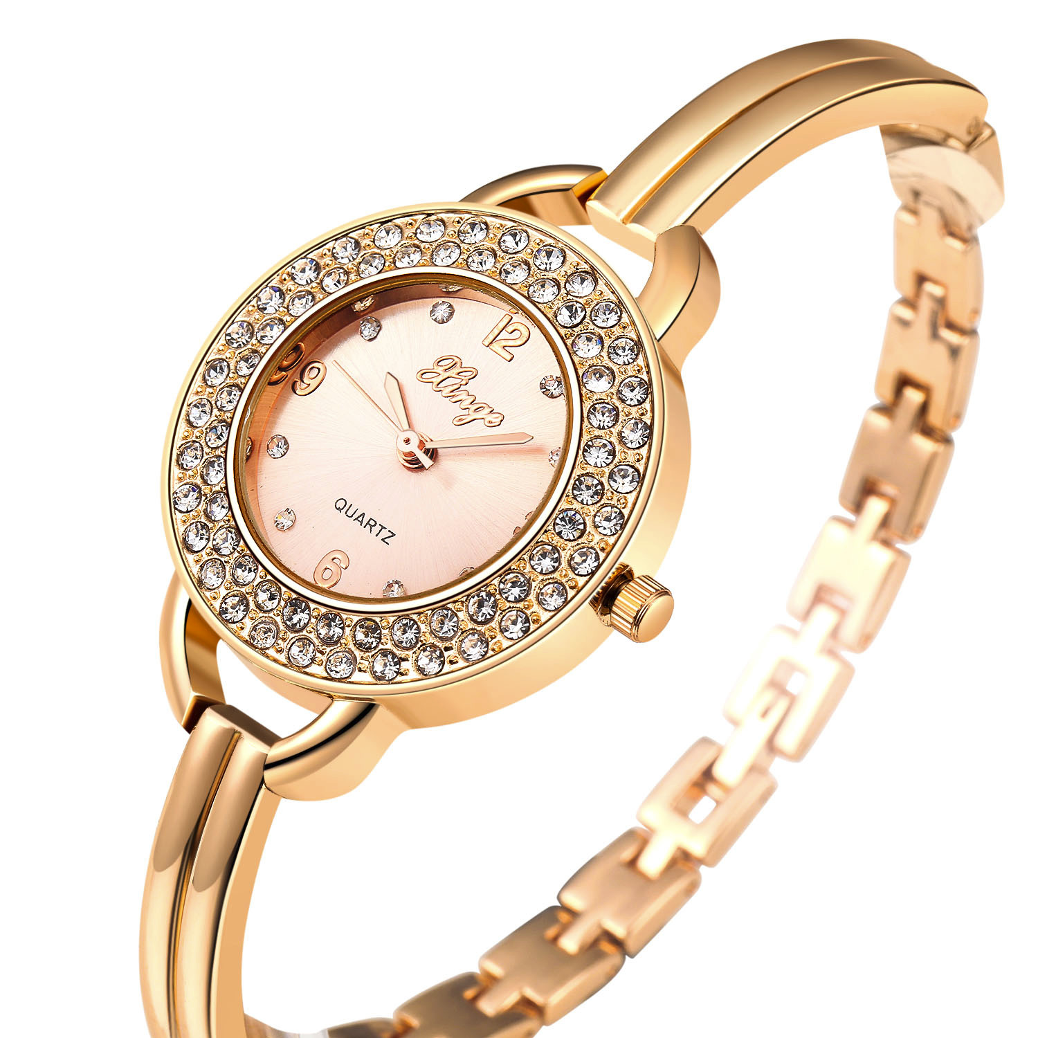 ФОТО Women Watches Reloj Mujer Famous Brand Logo Gold Rhinestone Bangle Watch And Bracelet Set 409R Free shipping Feida