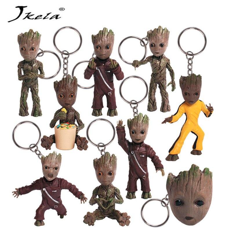 [Novo] bebê groots árvore homem figura brinquedos chaveiro pingente guardiões da galáxia dança filme figuras brinquedos pingentes colar presente