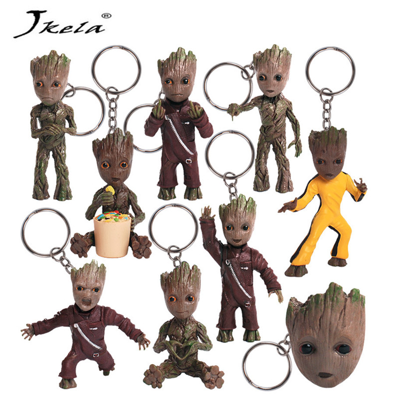 [New] Baby Groots Tree Man Figure Toys Keychain Pendant Guardians Of Galaxy Dancing Movie Figures Toys Pendants Necklace Gift