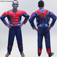 Antman Adults Muscle Jumpsuits Mask Avengers Ant Man Onesies Halloween Costume Mens Clothes Movie Superhero Cosplay