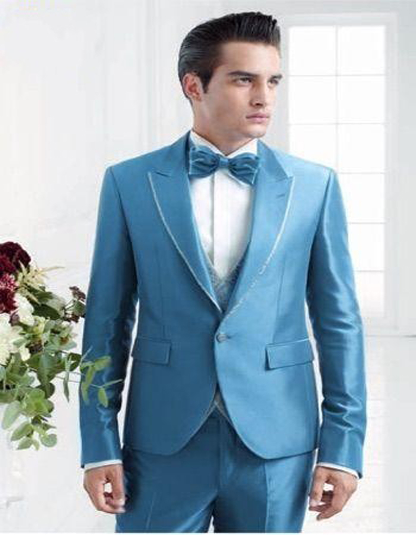 Slim Fit Groom Tuxedo Shiny Blue Groomsmen Peak Lapel Wedding/dinner ...