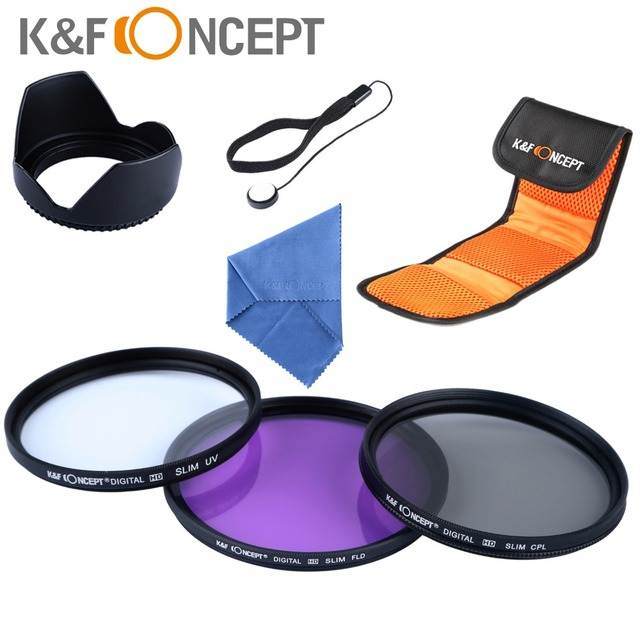 K&F Concept 52mm UV CPL FLD Lens Accessory Filter Kit for Nikon for Canon DSLR Cameras + Lens Hood + Cleaning Pen + Cap Keeper