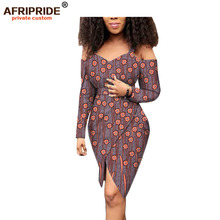 2019 summer africa style casual dress for women AFRIPRIDE customized full sleeeve knee v-neck length cotton A1825095