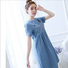 New Summer Maternity Clothing,Short Sleeve Linen Dress For Pregnant Women,Cute Clothing