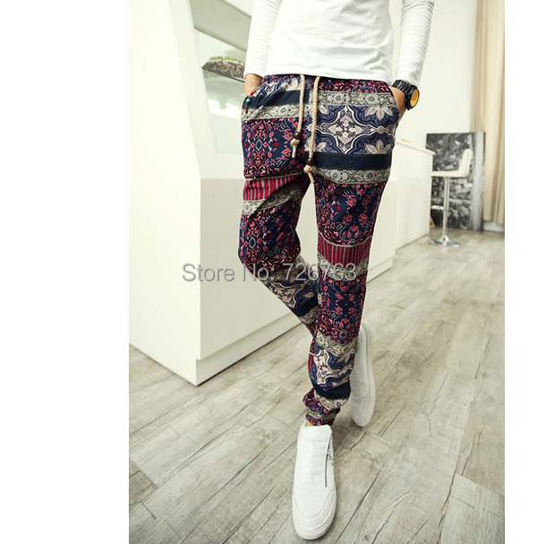 New Men's Vintage Exotic Patterned Boho Stretch Waist Slim Fit Gorgeous Patterned Pants Mens
