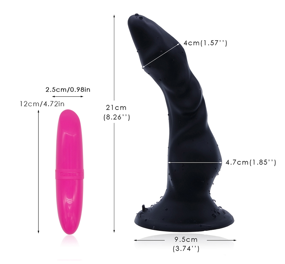 DOMI 2pcs/Set Dildo and Vibrator 21cm Strong Suction Penis Soft Smooth G-Spot Design Long Dildos Women Liquid Silicone Dildo 10